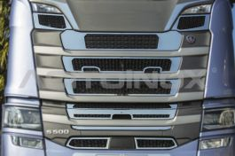 Stainless Steel Mirrored Mask Cover Kit Suitable For Scania S Series - 9 Piece