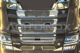 Stainless Steel Mirrored Viking Mask Cover Kit Suitable For Scania S Series - 9 Piece