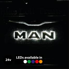 Backlit, LED Front Name Badge Upgrade suitable for MAN Trucks, 24v