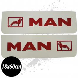 MAN White/Red Front Mudflaps (Pair)