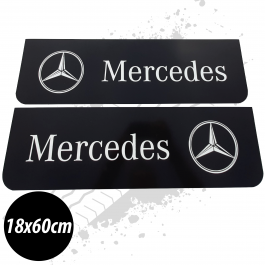 Mercedes Black/White Front Mudflaps (Pair)