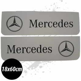 Mercedes White/Black Front Mudflaps (Pair)