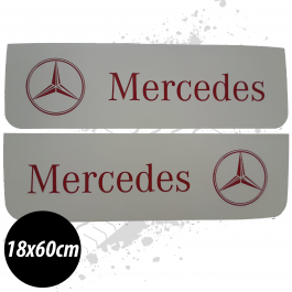 Mercedes White/Red Front Mudflaps (Pair)