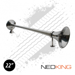 "NEDKING 55cm / 22"" Stainless Steel Air Horn 120db With 8mm Air Connection - Includes Support Arm"