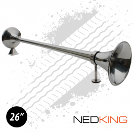 "NEDKING 65cm / 26"" Stainless Steel Air Horn 120db With 8mm Air Connection - Includes Support Arm"
