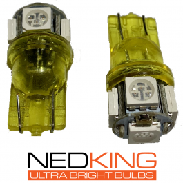 Ultra Bright T10 LED Cube Bulbs, 5050 SMD, 12/24v, CE Marked – Yellow (Pair)