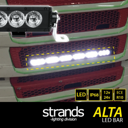 Alta LED Bar Kit to suit Next Gen Scania R/S Front Grill, Angel Eye Side Lights and Main Beam, 12/24v, ECE R10