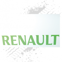 Renault White/Green Mudflaps (Pair)