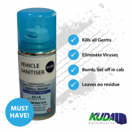 Vehicle Sanitiser Bomb, Anti-Bac, Kills all germs, eliminates viruses, 99.99% effective. 150ml Can