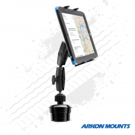 "Double Robust Cup Holder Tablet mount to suit devices 7"" - 18.4"" wide, 3.5"" cup holder - Arkon Mounts."