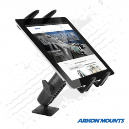 "Solid Drill Metal Base Tablet Mount to suit all 7"" to 18.4"" tablets - Arkon Mounts."