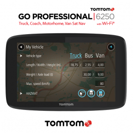 FACTORY RECONDITIONED - TomTom Go Professional 6250, Truck, Van Sat Nav. FREE Lifetime Updates