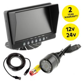 """Reversing Camera Kit, 7"""" Screen, Bumper Mount External Camera with IR Lights, 12v / 24v"""