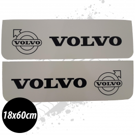 Volvo White/Black Front Mudflaps (Pair)