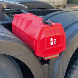 Wheel Arch Fire Box, Top loading Extinguisher storage will take 6/9KG extinguisher.