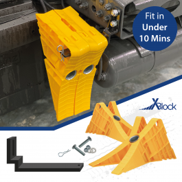 Universal, X-Block Wheel Chock Kit with Chassis Bracket - Fit in under 10 minutes.