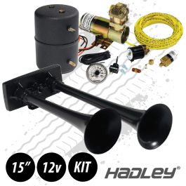 Hadley Black Zinc Bully Blast Air Horn 12 Volt Kit H00964HM