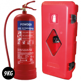9Kg Power Fire Extinguisher With External Fire Box To Fit.