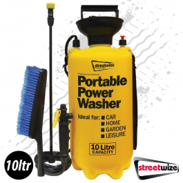 Portable Power Washer XL, 10 Litre with Wash Brush, No power or hose required!