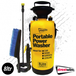 Portable Power Washer, 8 Litre with Wash Brush, No power or hose required!