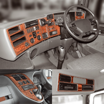 Truck Dashboard Dashboard Decor Kits. Walnut, aluminium and carbon fibre trim.