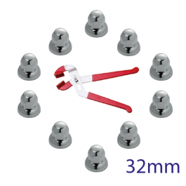 CLEARANCE 32mm Wheel Nut Covers. Pack of 10 with Nut Cap Remover Tool.