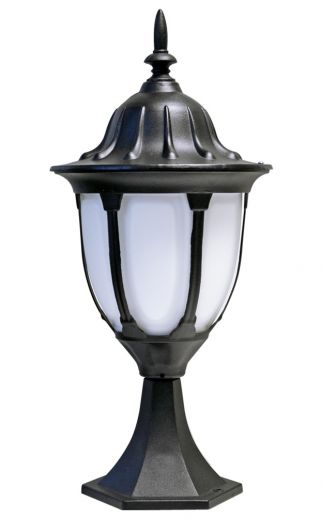 Amphora - Black Powder Coated Aluminium IP44 E27 240v Max Wattage 100w 525mm Height - Surface Mounted Pedestal Light