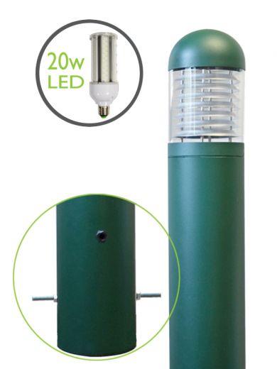 LEDifice  Aluminium Green Or Black IP65 E27 240v Root Mounted Bollard - Choice Of 3 Height & 3 Head Options & LED Lamp
