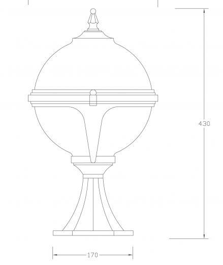 Mystic - 240v - White Polycarbonate & Aluminium IP44 E27 Max 100w Globe Light - Pedestal Light