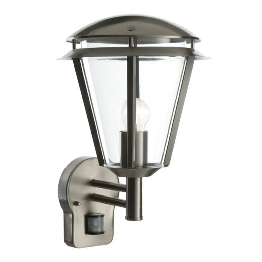 Inova PIR 240v - Brushed 304 Stainless Steel E27 Max 60w IP44 Security Wall Light With PIR Sensor