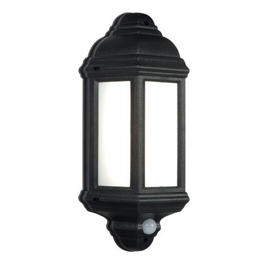 Halbury PIR Lantern 240v - Matt Black Polycarbonate 7w 4200k 500 Lumens IP44 Security Wall Light With PIR Sensor