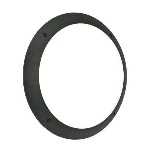 Seran Plain - 240v - Matt Black Textured Polycarbonate IP65 12w 6000k 1000 Lumens Amenity Light - Wall Light