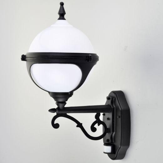 Mystic - 240v - White Polycarbonate & Aluminium IP44 E27 Max 100w Wall Light - Lantern Light With PIR Sensor