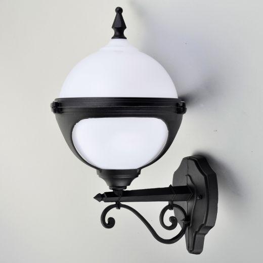 Mystic - 240v - White Polycarbonate & Aluminium IP44 E27 Max 100w Wall Light - Lantern Light