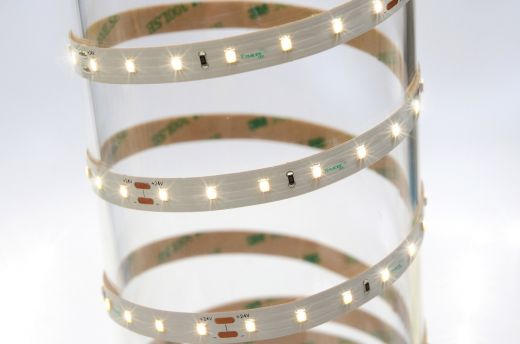 12w/m Single Colour LED Strip 70 LEDs per metre IP65 24v 120 degree beam angle in 5m lengths 1.1mm depth