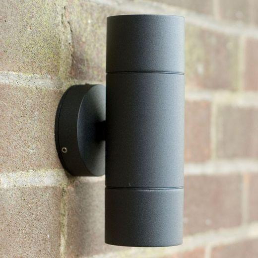 Elipta, compact, garden wall up / down light, black powder coat, mains 240v, GU10, 35w max