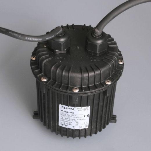 Ground burial transformer, Black, 12 v ac, 100va, IP68