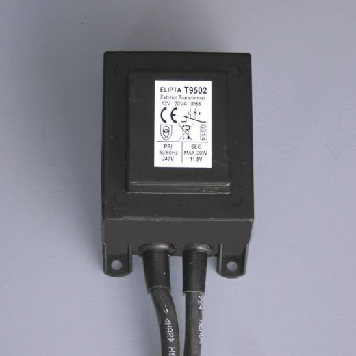 20va, Surface, IP66, exterior transformer, Black - 12 v ac