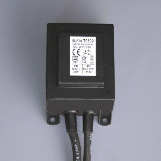 20va, Surface, IP66, exterior transformer, Black - 12 v ac