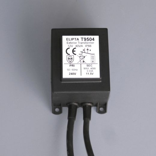 40va, Surface, IP66, exterior transformer, Black - 12 v ac 90mm x 60mm x 60mm
