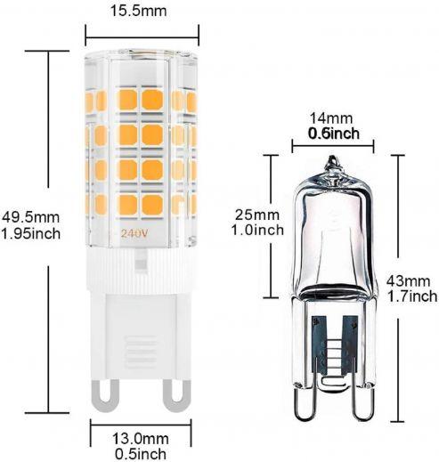 G9 4w 3000k 450 lumen 240v non dimmable LED bulb
