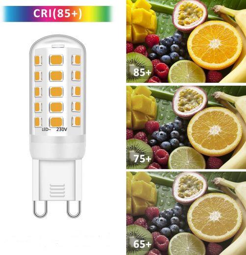 G9 3w 3000k warm white non dimmable 400 lumen LED bulbs 230v