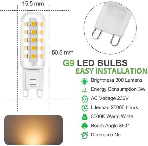 G9 3w 3000k warm white non dimmable 300 lumen LED bulbs 230v