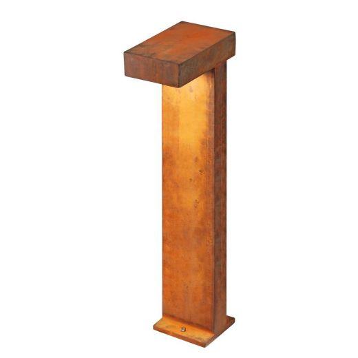 Rusty Pathlight - Rusted Iron - FeCSi Steel IP55 8.9w 3000k 220-240v 400 Lm 70cm - Surface or Spike Bollard - 2 Heights