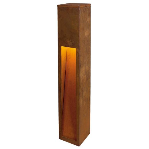 Rusty Slot - Rusted Iron - FeCSi Steel IP44 Max Watts 11w E27 - 230v 80cm - Surface or Spike Bollard In 2 Heights