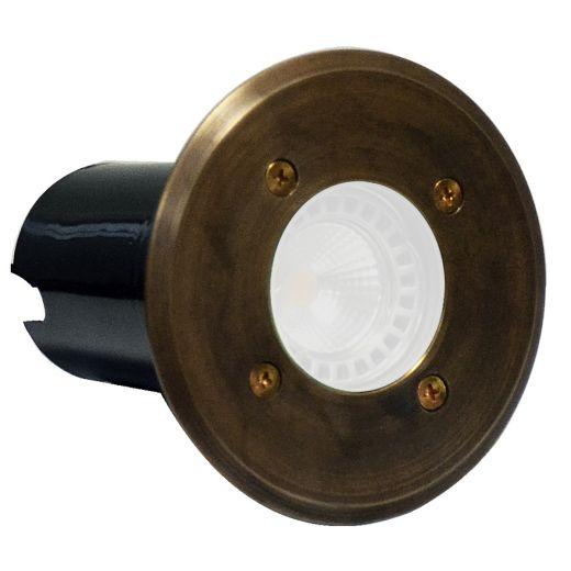 Decimax - 240v - Rustic Bronze Brass GU10 IP67 Fixed Recessed Spotlight 120mm Bezel - Clear Lens