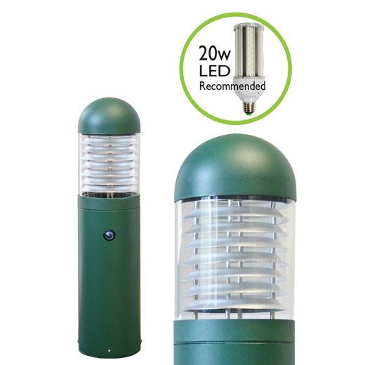 LEDifice - Aluminium Green/Black IP65 E27 240v Surface Bollard + Photocell - Choice Of 4 Heights & 3 Head Options & Lamp