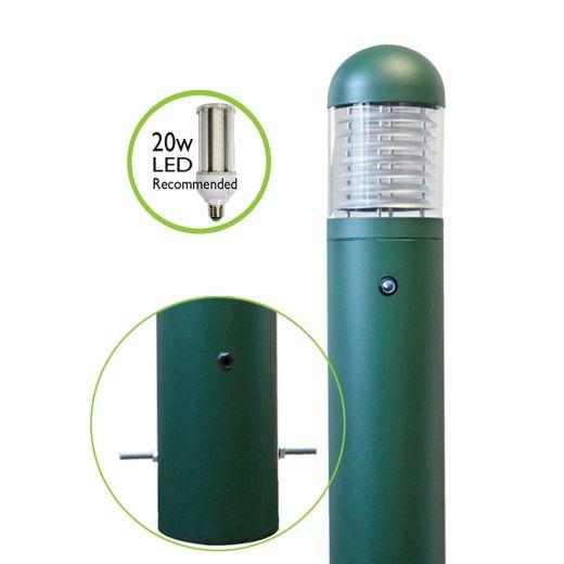 LEDifice - Aluminium Green/Black IP65 E27 240v Root Mount Bollard + Photocell - Has 3 Height, 3 Head Options & LED lamp