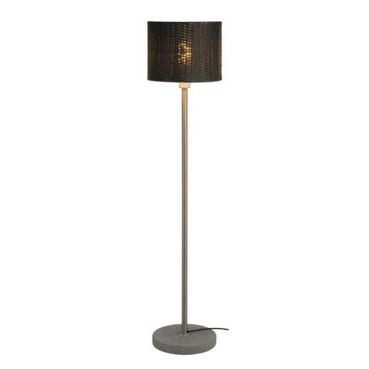 Adegan Manila - Anthracite Granite & Stainless Steel E27 240v IP44 Portable  Floor Lamp With 2.5m Cable