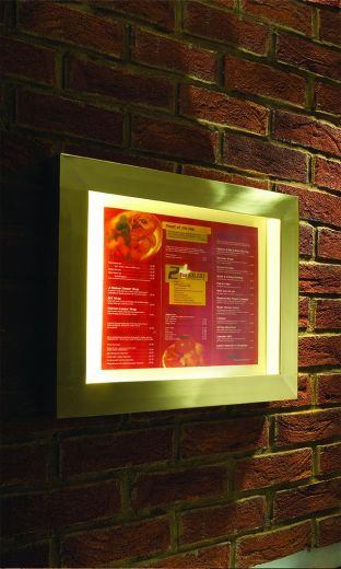 Menu case illuminated and in a choice of finishes size A3 as standard